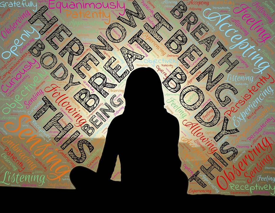 silhouette of woman in sitting meditation with encouraging words around her