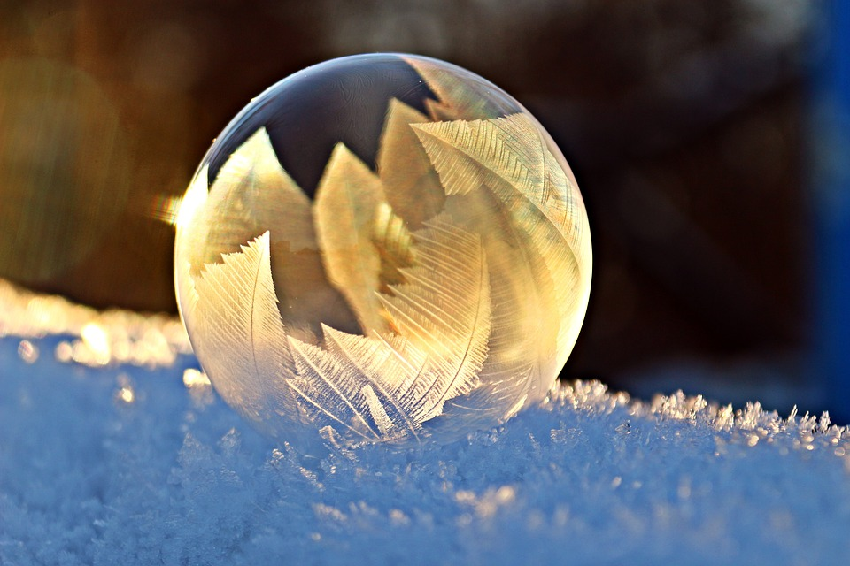 winter bubble with gold leaves