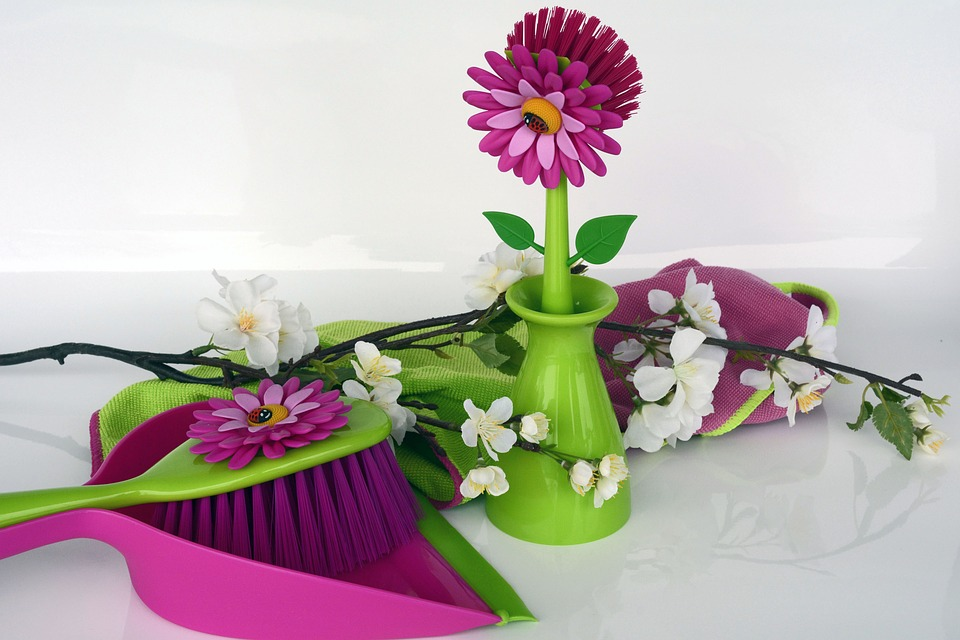 colorful dustpan and flowers